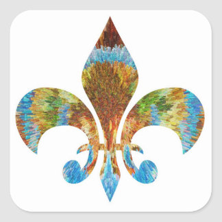 Fleur de Lis :  Gold n Silver Engraved Square Sticker