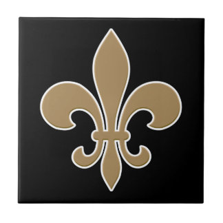 Fleur de Lis Gold with White and Black Outline Tile