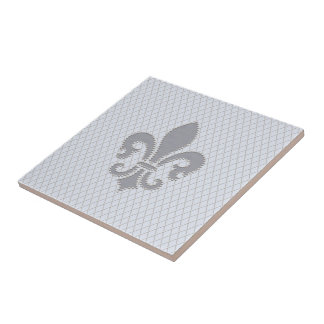 Fleur de Lis Grey Lilac Diamond Pattern Tile