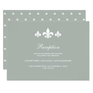 Fleur-de-lis Grey White Pattern Reception Cards