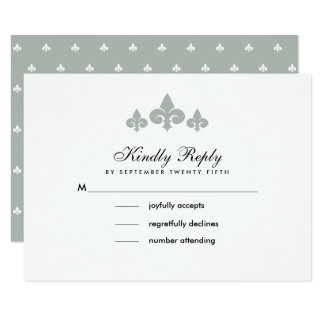 Fleur-de-lis Grey White Pattern Wedding RSVP Cards