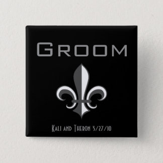fleur de lis groom grey 2 inch square button