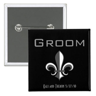 fleur de lis groom grey 2 inch square button