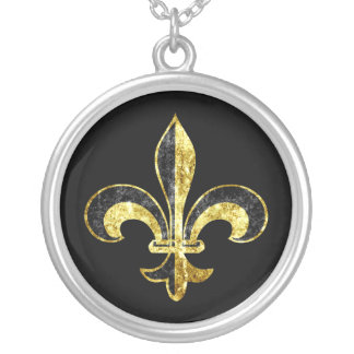 Fleur de lis grunge on black background silver plated necklace