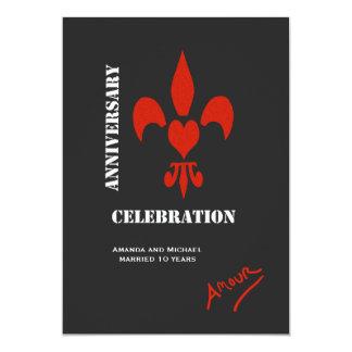 Fleur de Lis Heart Amour Anniversary Invites