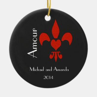 Fleur de Lis Heart Amour Personalized Ceramic Ornament