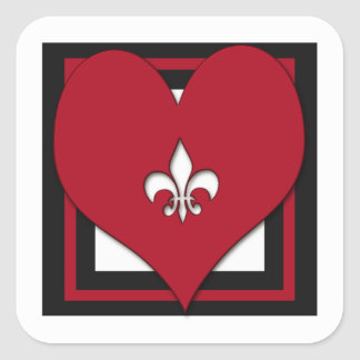 Fleur de Lis Heart Stickers