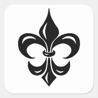Fleur de Lis in Black Square Sticker