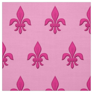Fleur de Lis in Fuchsia Pink on Light Pink Fabric