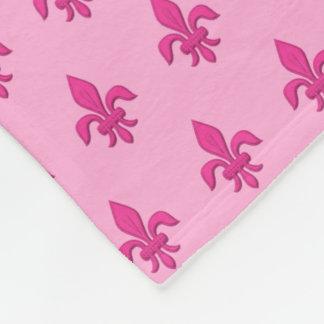 Fleur de Lis in Fuchsia Pink on Light Pink Fleece Blanket