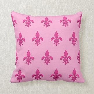 Fleur de Lis in Fuchsia Pink on Light Pink Throw Pillow