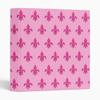 Fleur de Lis in Fuchsia Pink on Light Pink Vinyl Binders