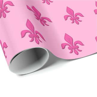 Fleur de Lis in Fuchsia Pink on Light Pink Wrapping Paper