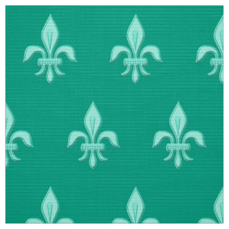 Fleur de Lis in Light Aqua on Turquoise Fabric