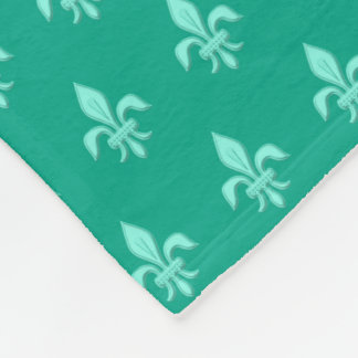 Fleur de Lis in Light Aqua on Turquoise Fleece Blanket
