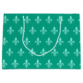 Fleur de Lis in Light Aqua on Turquoise Large Gift Bag