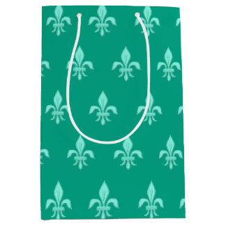 Fleur de Lis in Light Aqua on Turquoise Medium Gift Bag