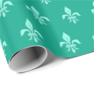 Fleur de Lis in Light Aqua on Turquoise Wrapping Paper