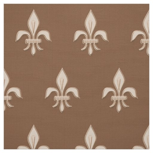 Fleur de Lis in Light Beige on Taupe Tan Fabric