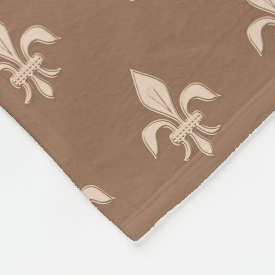 Fleur de Lis in Light Beige on Taupe Tan Fleece Blanket