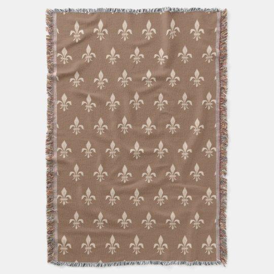 Fleur de Lis in Light Beige on Taupe Tan Throw Blanket