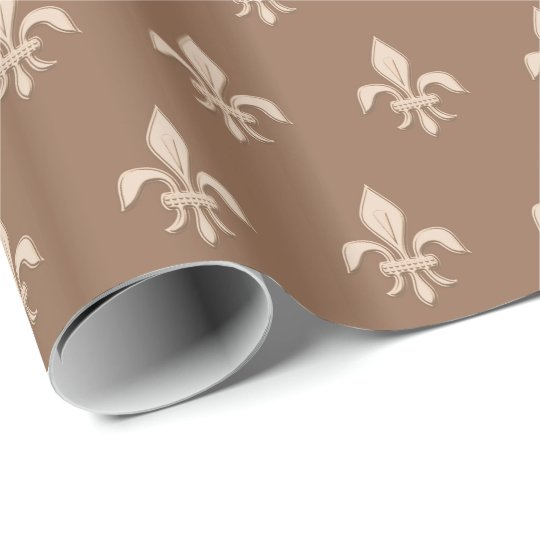 Fleur de Lis in Light Beige on Taupe Tan Wrapping Paper