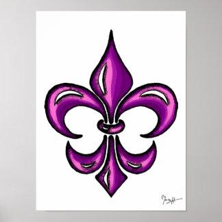 Fleur de Lis in Purple Lavender Posters