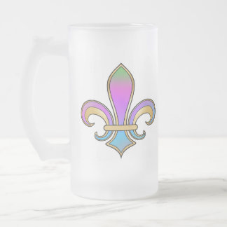 Fleur de Lis in shaded rainbow colors  -  1 16 Oz Frosted Glass Beer Mug