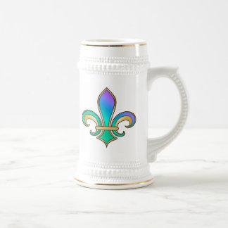 Fleur de Lis in shaded rainbow colors  - 6 18 Oz Beer Stein