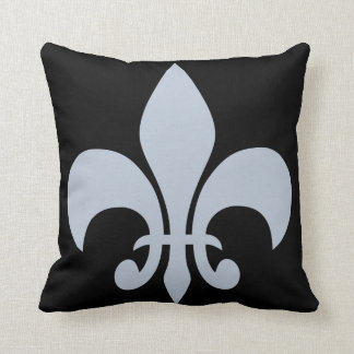 Fleur De Lis in Slate Blue & Black Throw Pillow