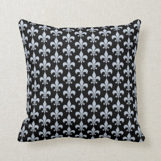 Fleur De Lis in Slate Blue Full Pattern Throw Pillow