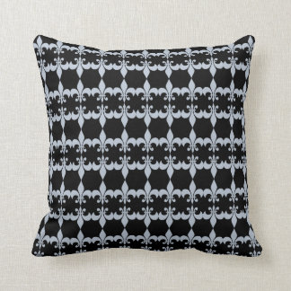Fleur De Lis in Slate Blue Pattern Throw Pillow