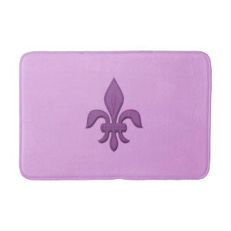Fleur de Lis in Violet Purple on Lavender Bath Mat