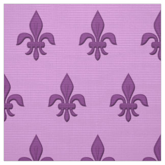 Fleur de Lis in Violet Purple on Lavender Fabric