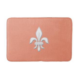 Fleur de Lis in White on Light Coral Pink / Peach Bath Mat