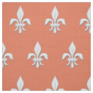 Fleur de Lis in White on Light Coral Pink / Peach Fabric