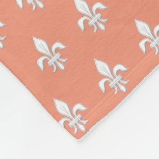 Fleur de Lis in White on Light Coral Pink / Peach Fleece Blanket