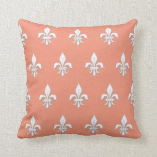 Fleur de Lis in White on Light Coral Pink / Peach Throw Pillow