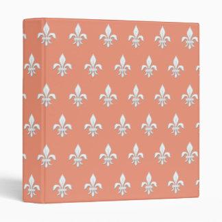 Fleur de Lis in White on Light Coral Pink / Peach Vinyl Binders