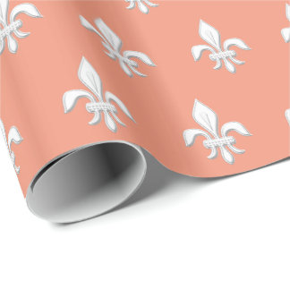 Fleur de Lis in White on Light Coral Pink / Peach Wrapping Paper