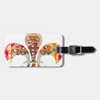 Fleur de lis Jewel Pattern Flowers Floral Gems fun Luggage Tag