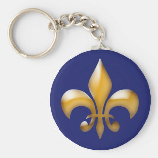 Fleur de Lis Keychain in Navy and Gold