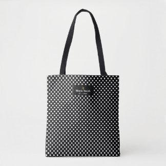 Fleur de Lis Label w/Black & White Polka Dots Tote Bag