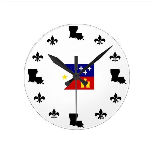 Fleur De Lis Louisiana Cajun Flag Clock