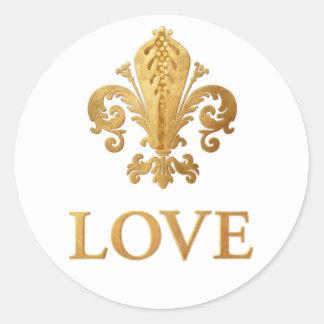 Fleur-de-lis Love Classic Round Sticker
