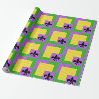 Fleur de Lis Mardi Gras Patterned Wrapping Paper