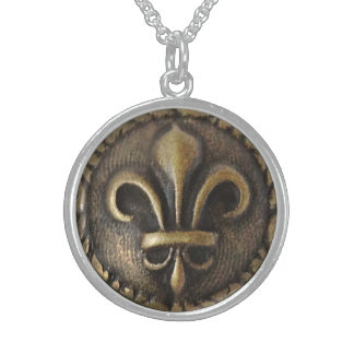 Fleur De Lis Medallion Sterling Silver Necklace