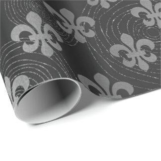 Fleur de Lis Metallic  Silver  Black Gray Circles Wrapping Paper