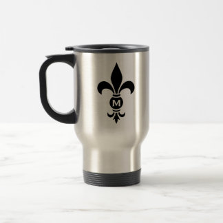 Fleur De Lis Monogram Simple Modern Minimalist Travel Mug
