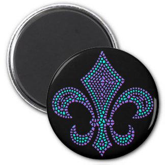 Fleur De Lis Mosaic Bevel Pastel Magnet